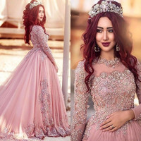 2017 Arabic Long Sleeves A-Line Prom Dresses Vestido De Noiva New Pink Beaded Lace Tulle Party Dresses Evening Wear Gown