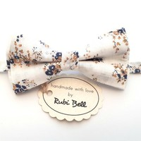 White Floral Bow Tie - White Bow Tie With Blue Beige Flowers - Mens Bow Tie - Groomsman Bow Tie - Wedding Tie - Pocket Square