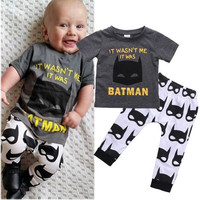 New Arrival High Quality Batman Baby Sets Newborn Baby Boys Short Sleeve T-shirt Tops Pants Outfits Clothes Set Hot Selling