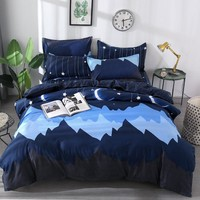 Papa&Mima Moon and stars print bedding set Polyester Duvet Cover Pillowcase Sets Bedclothes set Drop Shipping