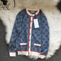 GUCCI 2019 new women's models wild jacquard double G knit cardigan