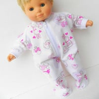 Bitty Baby Clothes Girl Easter Valentine's Day Heart Bunny chick White Pink Feetie Zip Up Pajamas Pjs Sleeper