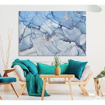 Large Fluid Abstract Wall Art Blue Marble Canvas Print