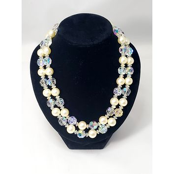 Mid century double strand faux pearl and Aurora borealis crystal beaded vintage necklace