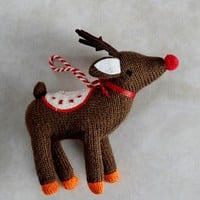 Knitted Reindeer Christmas Tree Decoration (11cm x 6cm) - Matalan