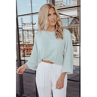 Hit The Mark Oversized Top (Dusty Blue)