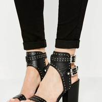 Missguided - Black Studded Buckle Back Heeled Sandals