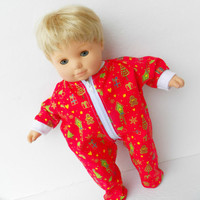 "bitty baby clothes handmade Twin Girl, Boy, Baby Doll 15"" Red Christmas Tree Print Feetie Zip Up Pajamas Pjs Sleeper"