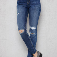 PacSun Mended Blue Ripped High Rise Skinny Jeans at PacSun.com