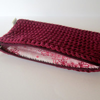 Red pouch, Small pouch, Cotton purse, Red cosmetic bag, Coin purse, Zipper pouch, Zipper purse, Bbordeaux pouch, handmade pouch,Cotton pouch
