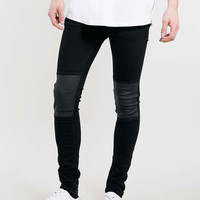 BLACK LEATHER LOOK SPRAY ON SKINNY JEANS - Men's Jeans - Clothing