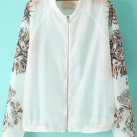 White Floral Pearl Zipper Long Sleeve Coat