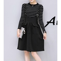 Women Fashion Stripe Lantern Sleeve Long Sleeve Loose Tops Irregular Back Strap Skirt Set Two-Piece