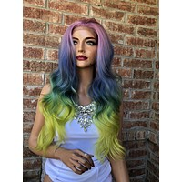 Rainbow Pastel Swiss Beach Waves lace front wig | Illusion 518 46*****