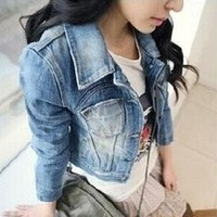 2015 Spring Womens Girls New Sweet Princess Slim Denim Jacket Distressed Crop Outerwear Coat Worn White Washed Short Jean Coat = 1929628036