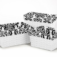 Isabella Black and White Damask Print Storage Basket Liners