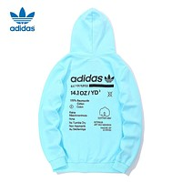 Adidas Newest Popular Women Men Casual Print Hoodie Cotton Sweater Top Sweatshirt Blue