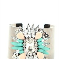 Large Metal Cuff Bracelet with Spiked Stone Design
