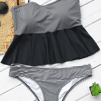 Cupshe Stripe Of Life Falbala Bikini Set