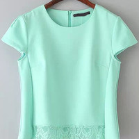 Mint Green Cap Sleeve Lace Hem Crop Top