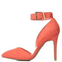 Ankle Strap D'Orsay Pointed Toe Heels by Charlotte Russe - Coral