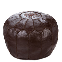Moroccan Leather Ottoman Pouf, Chocolate
