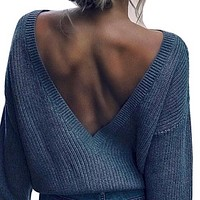 Explosion style hot sale round neck knitted big open back sweater