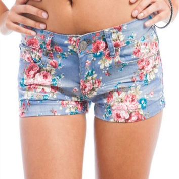 Flower Bouquet Denim Shorts