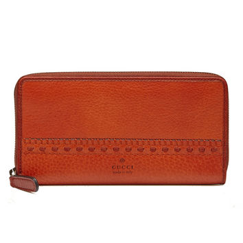 Gucci Laidback Crafty Zip Around Leather Wallet Burnt Orange
