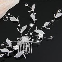 Silver Plated Vine Leaf Crystal Wedding Prom Hair Comb Pin free shipping
