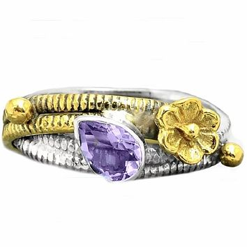 Alexandrite Two Tone Artisan Crafted Floral Ring