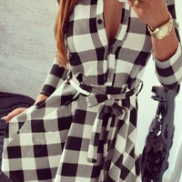 Your Move Checkered Skater Shirt Dress