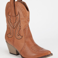 Mia Horseback Cowboy Womens Boots Cognac  In Sizes