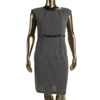 Connected Apparel Womens Knit Pleated Wear to Work Dress