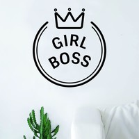 Girl Boss Crown Girl Power Wall Decal Sticker Vinyl Art Bedroom Living Room Decor Decoration Teen Quote Inspirational Motivational Cute Lady Feminism Feminist Empower Grl Pwr Love Beautiful