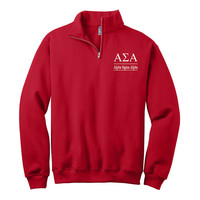 Alpha Sigma Alpha Quarter Zip Pullover,  Alpha Sigma Alpha cadet fleece pullover, Sorority Letters, ASA Greek Apparel, Sorority Clothing