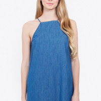 Sleeveless High Neck Raw Hem Denim Shift Dress - Medium Wash