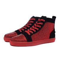 Cl Christian Louboutin Louis Strass Men's Women's Flat Red/Black Suede
