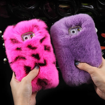 For Samsung Galaxy S5 S6 S7/ S7 Edge Note 4 Note 5 Real Rabbit Fur Cases Rhinestone Bling Plush Cover For iPhone 6 6S Plus I5 5S