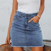 8DESS Sexy pencil denim women skirt Tassel high waist bodycon mini skirt Casual streetwear jeans skirts