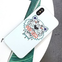 Kenzo New fashion letter tiger couple phone case protective cover White