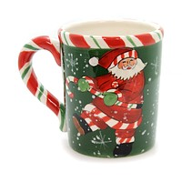 Tabletop SANTA PEPPERMINT MUG Ceramic Christmas Snowflakes Ta9069 B