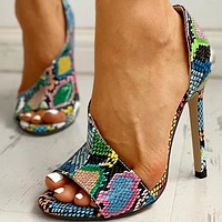 New fashion color fish mouth high fine heel side empty ladies sandals colorful green snake pattern