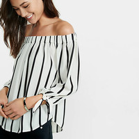 Striped Off The Shoulder Tie Sleeve Blouse from EXPRESS