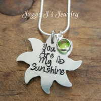 You Are My Sunshine Hand Stamped Necklace, Sun Necklace, Personalized Gift, Gift for Her, Sun Shaped Necklace, Grandmother, Mother, Daughter