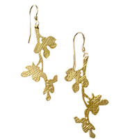 Matte Gold Cherry Blossom Earrings