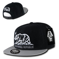 New CALIFORNIA REPUBLIC SNAPBACK HAT - Cali Bear Vinyl Bill Black/Grey