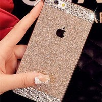 iPhone 6 case,Top Selling (TM) Beauty Luxury Diamond Hybrid Glitter Bling hard Shiny Sparkling with Crystal Rhinestone Cover Case for Apple iPhone 6 + Bonus Top Selling Logo Stylus (iphone 6 [4.7inch], Gold + Bling)