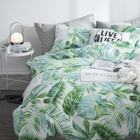 2018 Summer Cotton Green Leaf Bedding Sets Queen Single,2-3PCS Duvet Cover Set, 4PCS Set For Duvet cover Bed Sheet Pillowcase