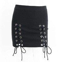 Sexy Lady Lace Up Hollow Out Street Style Mini Skirt